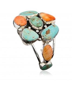 Navajo 925 Sterling Silver Turquoise and Spiny Oyster Certified Authentic Native American Cuff Bracelet 251081742838