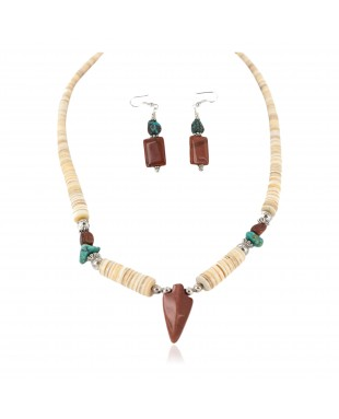 Navajo Arrowhead .925 Sterling Silver Hooks Certified Authentic Natural Turquoise Graduated Heishi Goldstone Native American Set 16006-300-18237-4