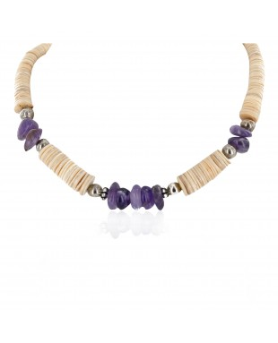 Navajo Certified Authentic .925 Sterling Silver Natural Graduated Melon Shell Amethyst Native American Necklace 25275