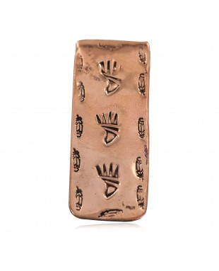 Navajo Certified Authentic Handmade Feather Bear Paw Pure Copper Native American Nickel Money Clip 11267-4