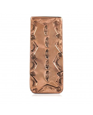 Navajo Certified Authentic Handmade Feather Sun Pure Copper Native American Nickel Money Clip 11267-1