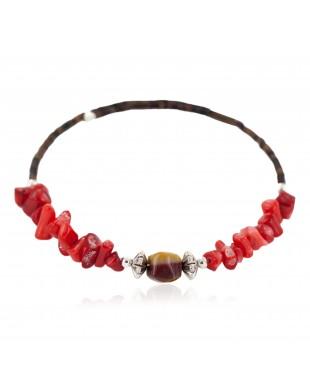 Navajo Certified Authentic Heishi Coral Agate Native American Adjustable Wrap Bracelet 13159-6
