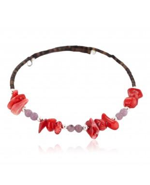 Navajo Certified Authentic Heishi Coral Purple Quartz Native American Adjustable Wrap Bracelet 13159-8