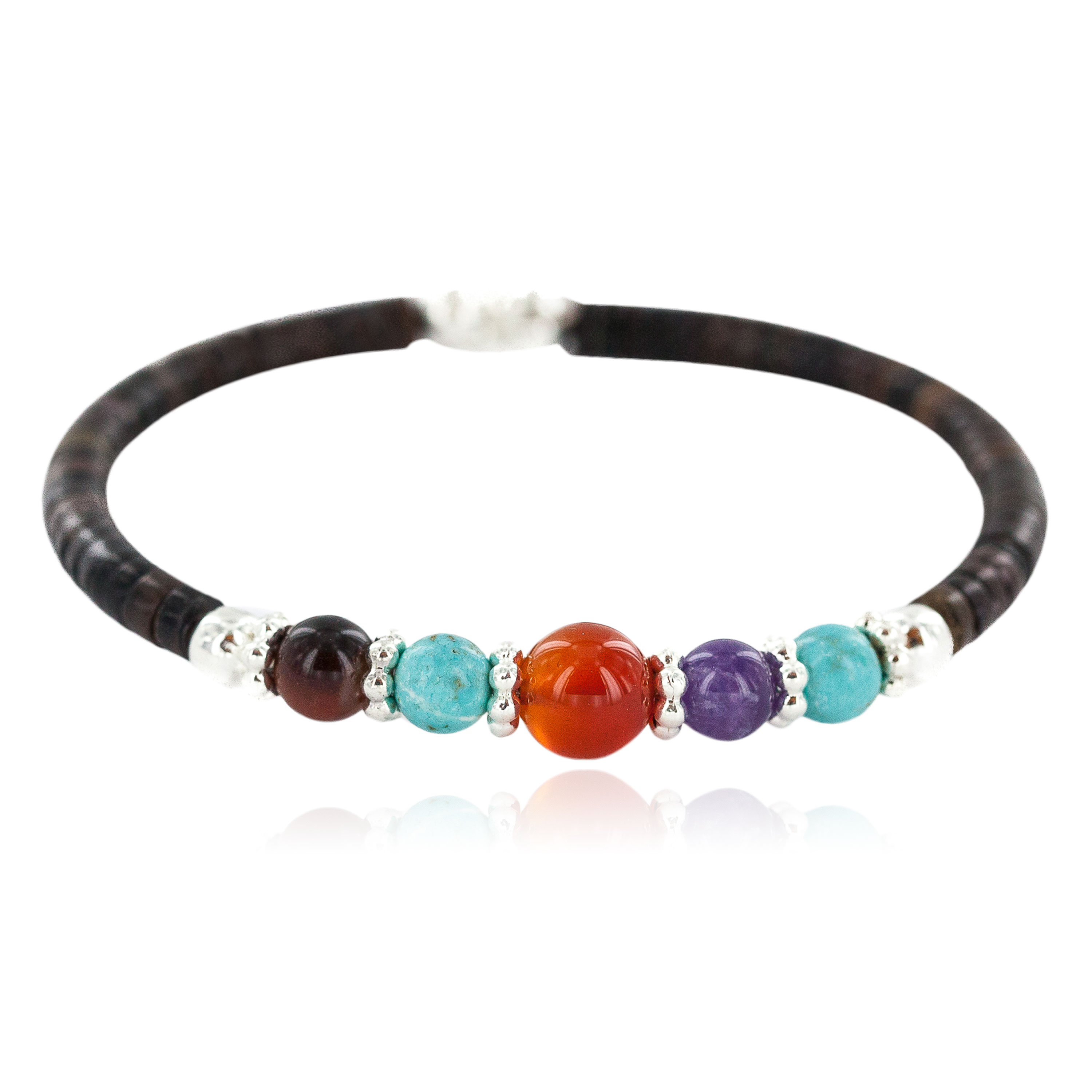 Navajo Certified Authentic Natural Carnelian Tigers Eye Heishi Native American Adjustable Wrap Bracelet 13181-1 All Products NB160528000730 13181-1 (by LomaSiiva)