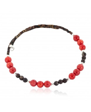 Navajo Certified Authentic Natural Heishi Agate Coral Native American Adjustable Wrap Bracelet 13151-37
