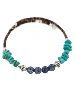 Navajo Certified Authentic Natural Heishi Lapis Native American Adjustable Wrap Bracelet 13151-20