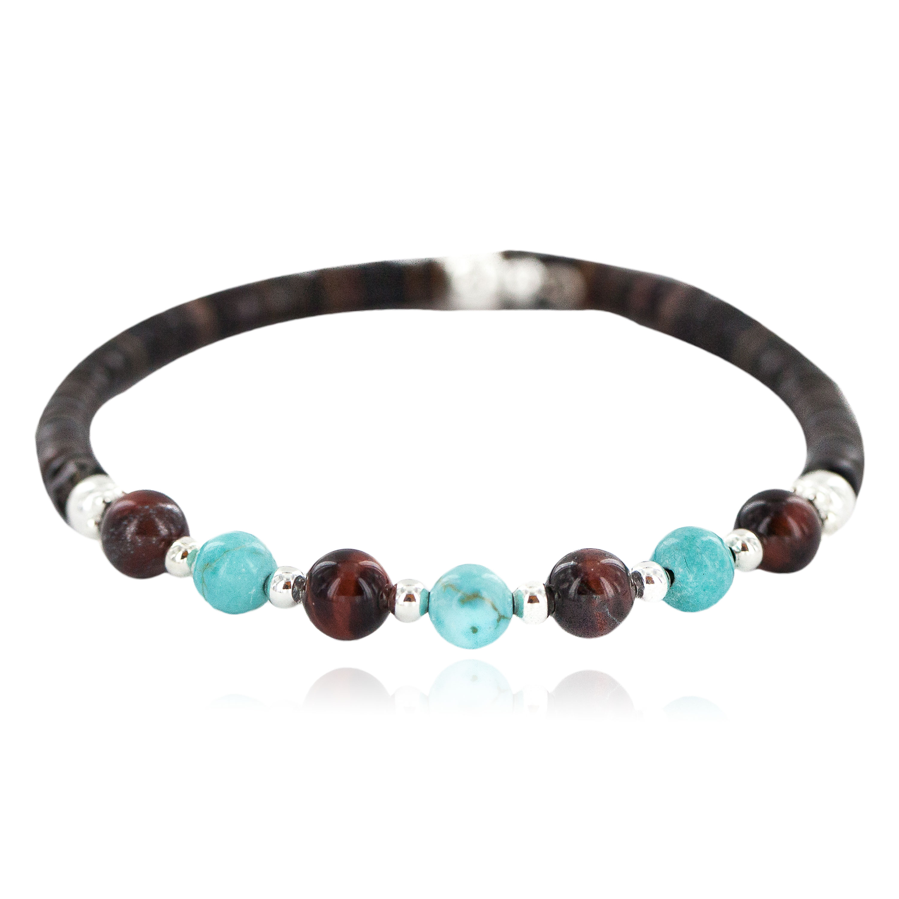 Navajo Certified Authentic Natural Tigers Eye Heishi Native American Adjustable Wrap Bracelet 13181-2 All Products NB160528000159 13181-2 (by LomaSiiva)