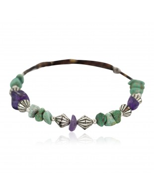 Navajo Certified Authentic Natural Turquoise Amethyst Heishi Native American Adjustable Wrap Bracelet 13172-13