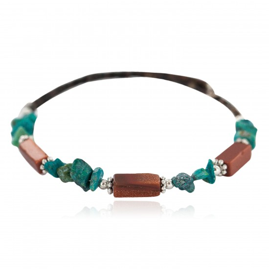 Navajo Certified Authentic Natural Turquoise Goldstone Heishi Native American Adjustable Wrap Bracelet 13172-10 All Products NB160507214242 13172-10 (by LomaSiiva)