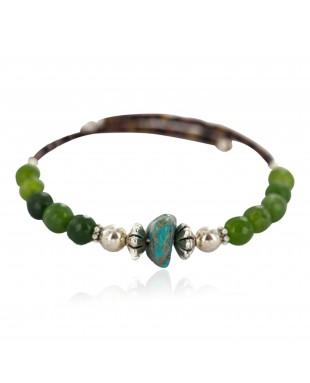 Navajo Certified Authentic Natural Turquoise Green Quartz Heishi Native American Adjustable Wrap Bracelet 13172-15