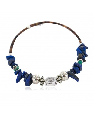 Navajo Certified Authentic Natural Turquoise Heishi Lapis Lazuli Native American Adjustable Wrap Bracelet 13139-9