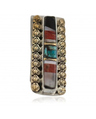 Navajo Handmade Certified Authentic .925 Sterling Silver Inlaid Natural Black Onyx Mother of Pearl Spiny Oyster Turquoise Native American Nickel and Brass Money Clip 91001-8