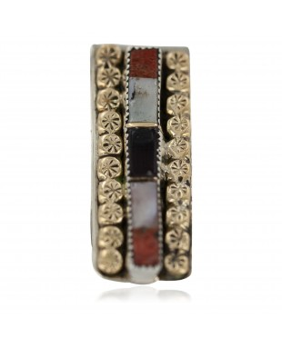 Navajo Handmade Certified Authentic .925 Sterling Silver Inlaid Natural Black Onyx Spiny Oyster Mother of Pearl Native American Nickel and Brass Money Clip 91003-3
