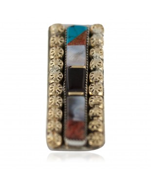 Navajo Handmade Certified Authentic .925 Sterling Silver Inlaid Natural Black Onyx Spiny Oyster Turquoise Mother of Pearl Native American Nickel and Brass Money Clip 91003-2