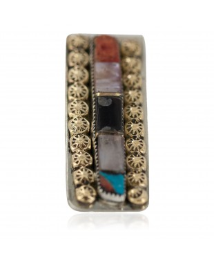Navajo Handmade Certified Authentic .925 Sterling Silver Inlaid Natural Black Onyx Spiny Oyster Turquoise Mother of Pearl Native American Nickel and Brass Money Clip 91003-4