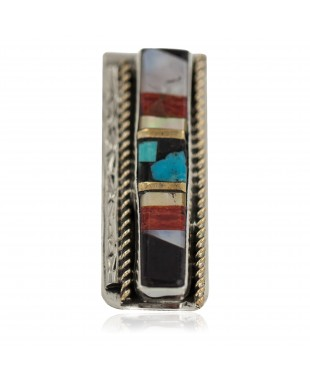 Navajo Handmade Certified Authentic .925 Sterling Silver Inlaid Natural Spiny Oyster Turquoise Mother of Pearl Black Onyx Native American Nickel Money Clip 91001-7