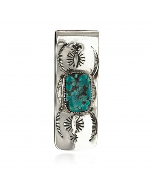 Navajo Handmade Certified Authentic .925 Sterling Silver Natural Spiderweb Turquoise Native American Nickel Money Clip 11270