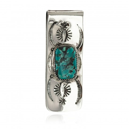 Navajo Handmade Certified Authentic .925 Sterling Silver Natural Spiderweb Turquoise Native American Nickel Money Clip 11270 All Products NB160423005415 11270 (by LomaSiiva)