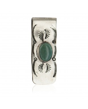 Navajo Handmade Certified Authentic .925 Sterling Silver Natural Turquoise Native American Nickel Money Clip 11269