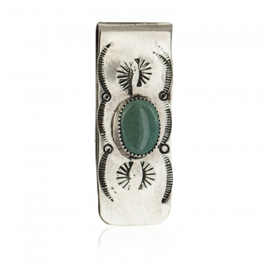 Navajo Handmade Certified Authentic .925 Sterling Silver Natural Turquoise Native American Nickel Money Clip 11269 All Products NB160423004949 11269 (by LomaSiiva)
