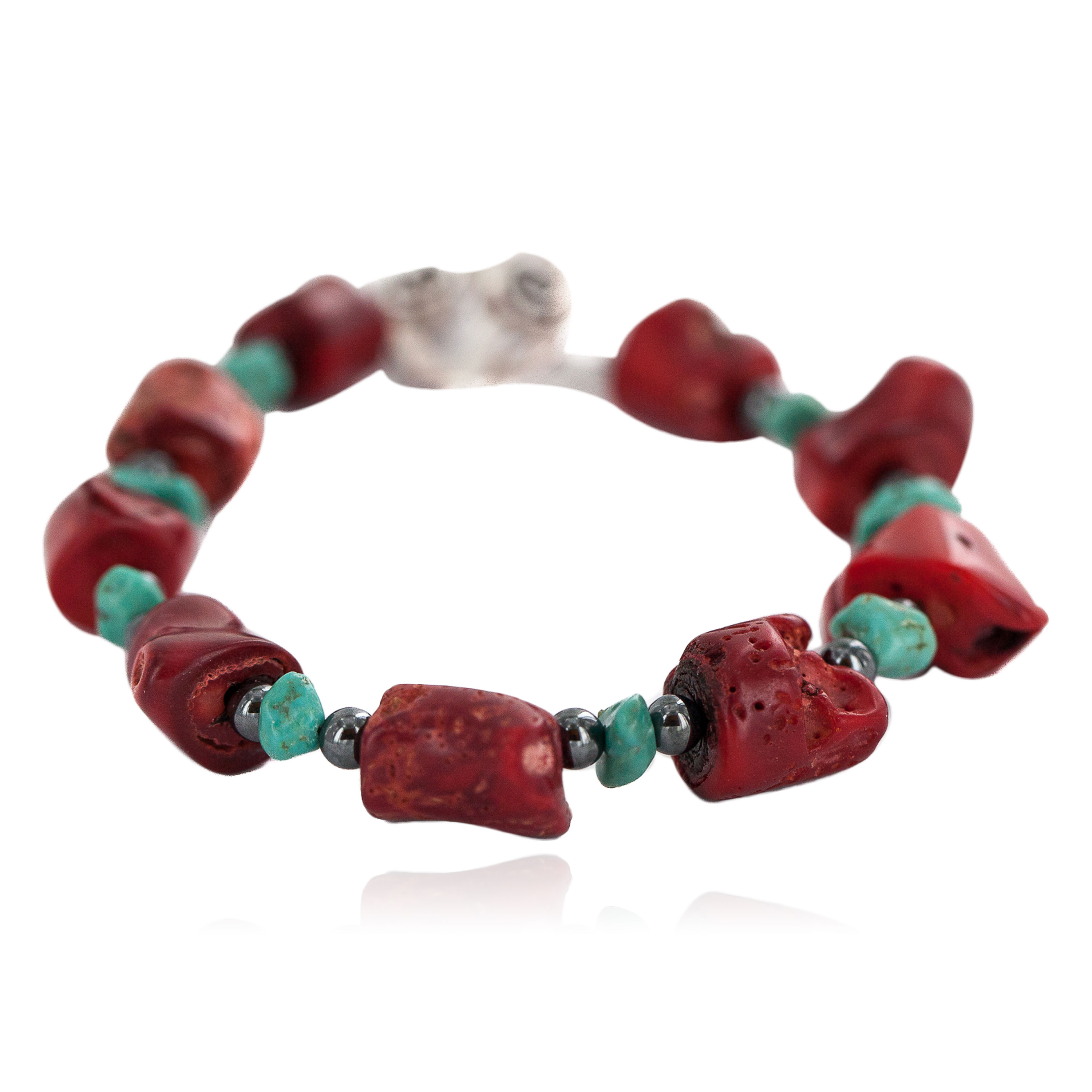Navajo Nickel Certified Authentic Natural Turquoise Coral Hematite Native American Bracelet 13176-3 All Products NB160514215911 13176-3 (by LomaSiiva)