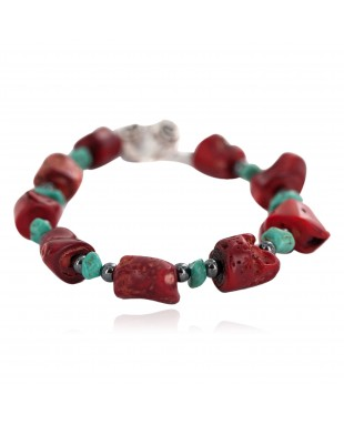 Navajo Nickel Certified Authentic Natural Turquoise Coral Hematite Native American Bracelet 13176-3