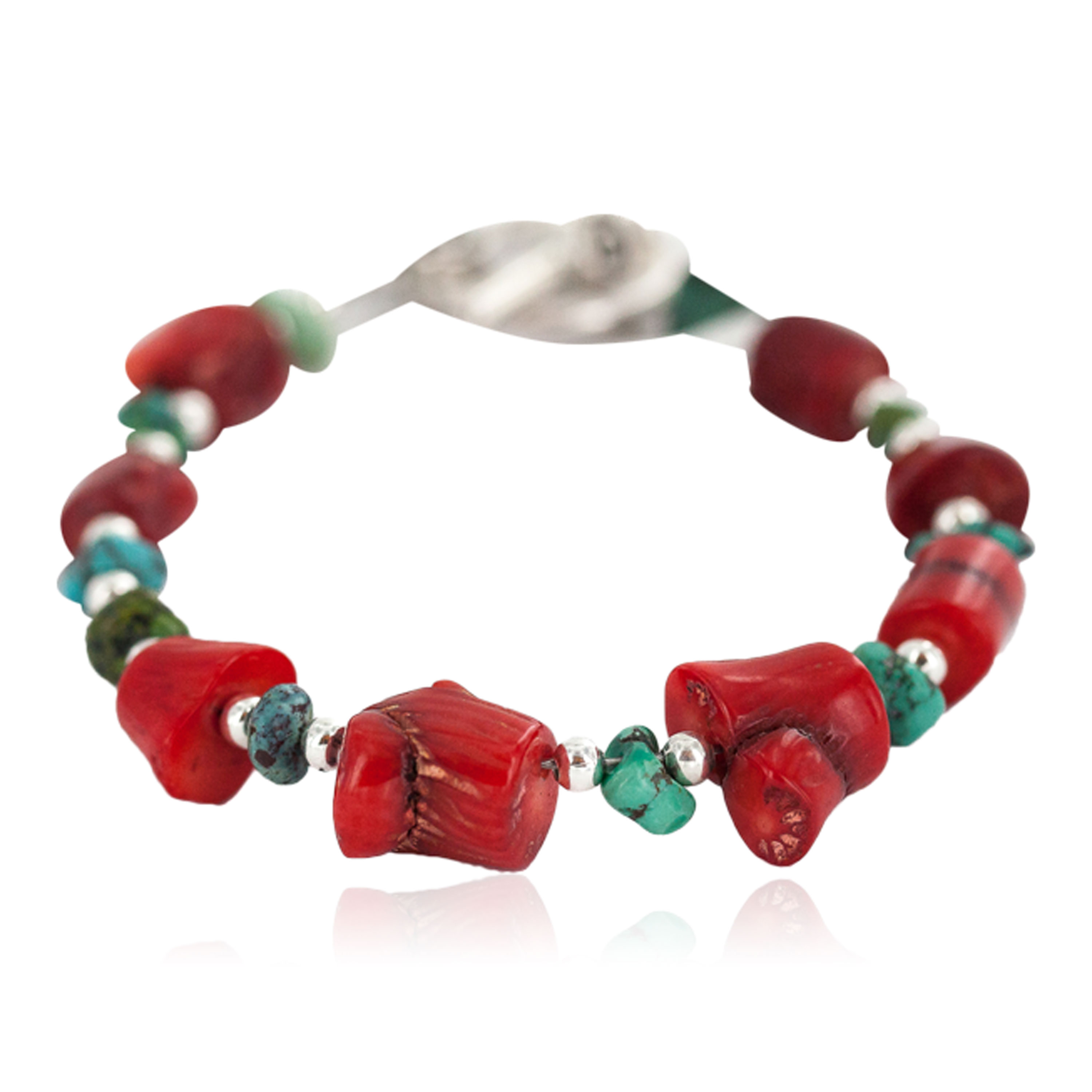 Navajo Nickel Certified Authentic Natural Turquoise Coral Native American Bracelet 13176 All Products NB160514221612 13176 (by LomaSiiva)