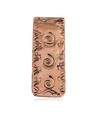 Navajo Swirl Certified Authentic Handmade Pure Copper Native American Nickel Money Clip 11267-3