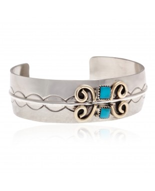 Nickel Brass Certified Authentic Handmade Navajo Natural Turquoise Native American Bracelet 13031-4