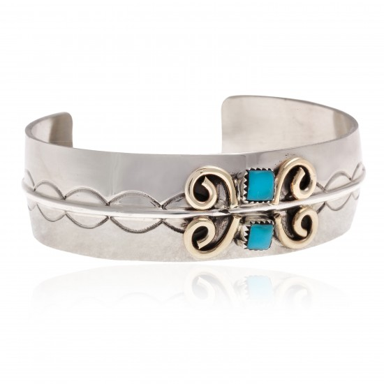 Nickel Brass Certified Authentic Handmade Navajo Natural Turquoise Native American Bracelet 13031-4 All Products NB160207053913 13031-4 (by LomaSiiva)