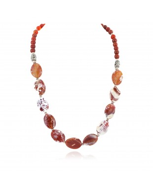 Nickel Certified Authentic Navajo Natural Carnelian Native American Necklace 750224-5