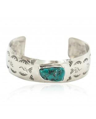 Nickel Navajo Handmade Certified Authentic Natural Cerrillos Turquoise Native American Bracelet 13067-2