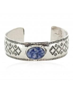 Nickel Navajo Handmade Certified Authentic Natural Lapis Native American Bracelet 13026-1