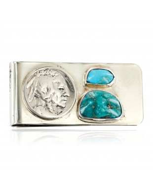 OLD Buffalo Coin Handmade Certified Authentic by Ben Riggs Navajo .925 Sterling Silver Nickel and Turquoise Native American Money Clip 11242-2