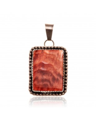 Orange Spiny Oyster .925 Starling Silver Certified Authentic Navajo Native American Handmade Pendant 24519-1