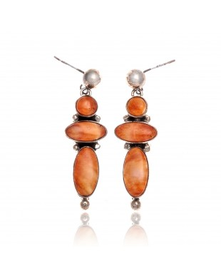 Orange Spiny Oyster .925 Starling Silver Certified Authentic Navajo Native American Handmade Post Earrings  18198-30