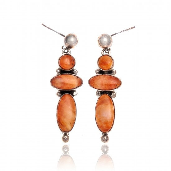 Orange Spiny Oyster .925 Starling Silver Certified Authentic Navajo Native American Handmade Post Earrings  18198-30 All Products NB181016201909 18198-30 (by LomaSiiva)