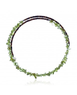 Peridot Certified Authentic Navajo Native American Adjustable Choker Wrap Necklace 25577