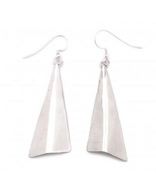 Plain Simple .925 Starling Silver Certified Authentic Handmade Navajo Native American Earrings  27265-6