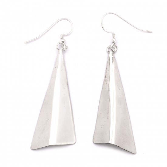 Plain Simple .925 Starling Silver Certified Authentic Handmade Navajo Native American Earrings  27265-6 All Products NB180607034129 27265-6 (by LomaSiiva)