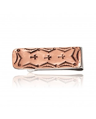 Pure Copper and Nickel Certified Authentic Navajo Native American Handmade Cross Money Clip 11267-2