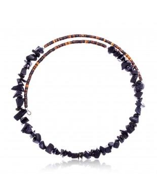Purple Goldstone Certified Authentic Navajo Native American Adjustable Choker Wrap Necklace 25562