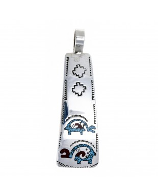 Ram .925 Starling Silver Certified Authentic Handmade Navajo Native American Natural Turquoise Coral Pendent  24541-9
