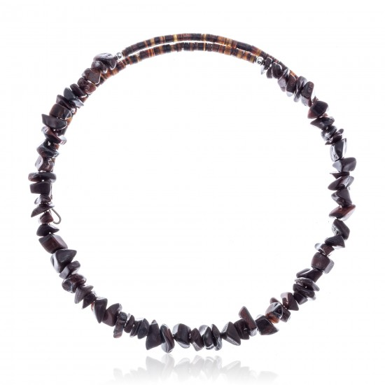 Red Tigers Eye Certified Authentic Navajo Native American Adjustable Choker Wrap Necklace 25571 All Products NB180926223250 25571 (by LomaSiiva)