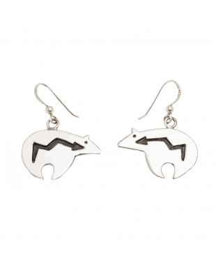 Shaped Bear .925 Sterling Silver Certified Authentic Handmade Navajo Native American Earrings 18312-3