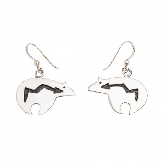Shaped Bear .925 Sterling Silver Certified Authentic Handmade Navajo Native American Earrings 18312-3 All Products NB180612020335 18312-3 (by LomaSiiva)
