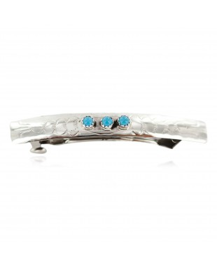 Silver Certified Authentic Handmade Navajo Natural Turquoise Native American Hair Barrette 10346-10