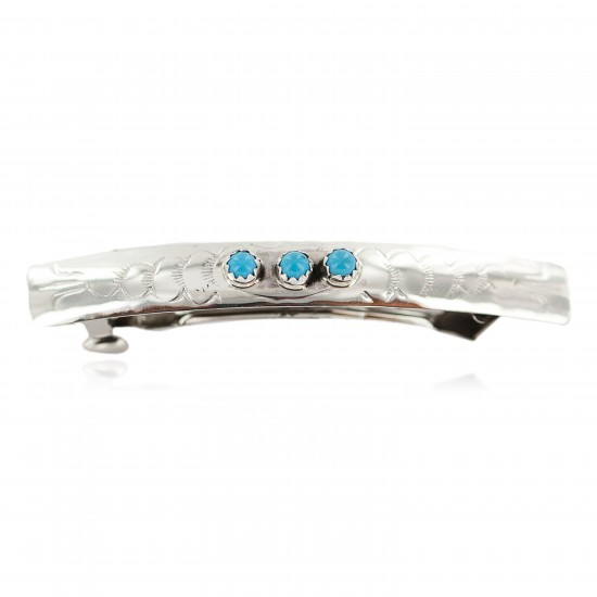 Silver Certified Authentic Handmade Navajo Natural Turquoise Native American Hair Barrette 10346-10 All Products NB160301002006 10346-10 (by LomaSiiva)