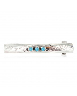 Silver Certified Authentic Handmade Navajo Natural Turquoise Native American Hair Barrette 10346-3