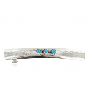 Silver Certified Authentic Handmade Navajo Natural Turquoise Native American Hair Barrette 10346-5